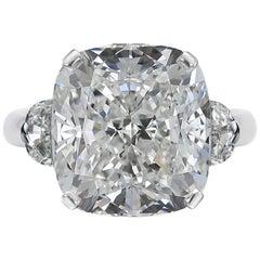 GIA 5.60 Carat Cushion Diamond Half-Moon Side Three-Stone Ring Plat