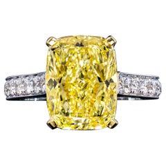 GIA 5.73 Carat Cushion Cut Natural Fancy Intense Yellow Solitaire Diamond Ring
