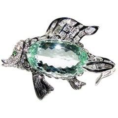 GIA 57.37 Carat Natural Green Beryl Fish Brooch Pendant