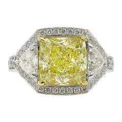 GIA 5.84 Carat Vintage Fancy Yellow Cushion Diamond Wedding Platinum Ring