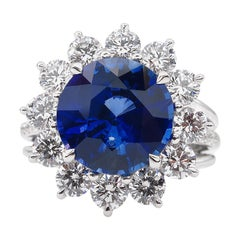 GIA 5.92ctw Ceylon Natural Royal Blue Sapphire and Diamond Platinum Cluster Ring