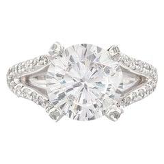 GIA 6 Carat Round Brilliant Cut Diamond Platinum Ring