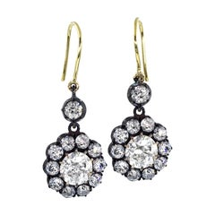 GIA 6.00 Carat Diamond Cluster Dangling Earrings in Gold Silver Top