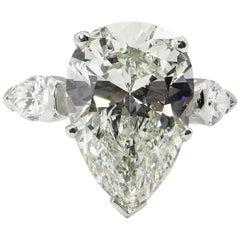 GIA 6.01 Carat Estate Vintage Pear Diamond 3-Stone Wedding Platinum Ring