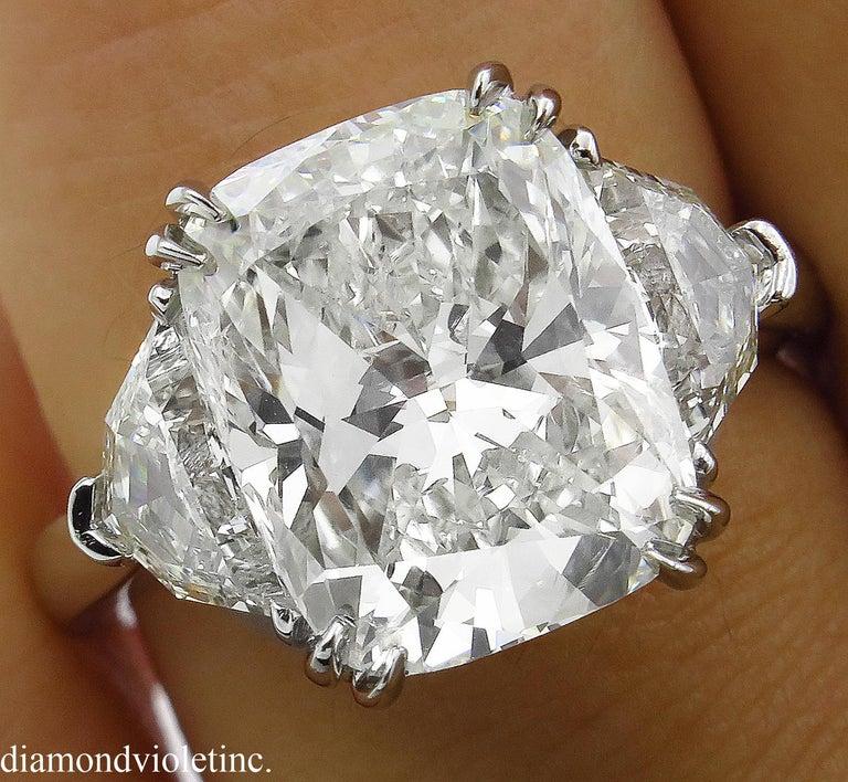 GIA 6.01 Carat Cushion Diamond Three-Stone Engagement Platinum Ring For Sale 5