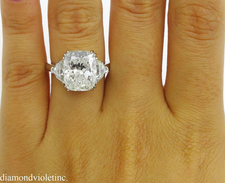 GIA 6.01 Carat Cushion Diamond Three-Stone Engagement Platinum Ring For Sale 6