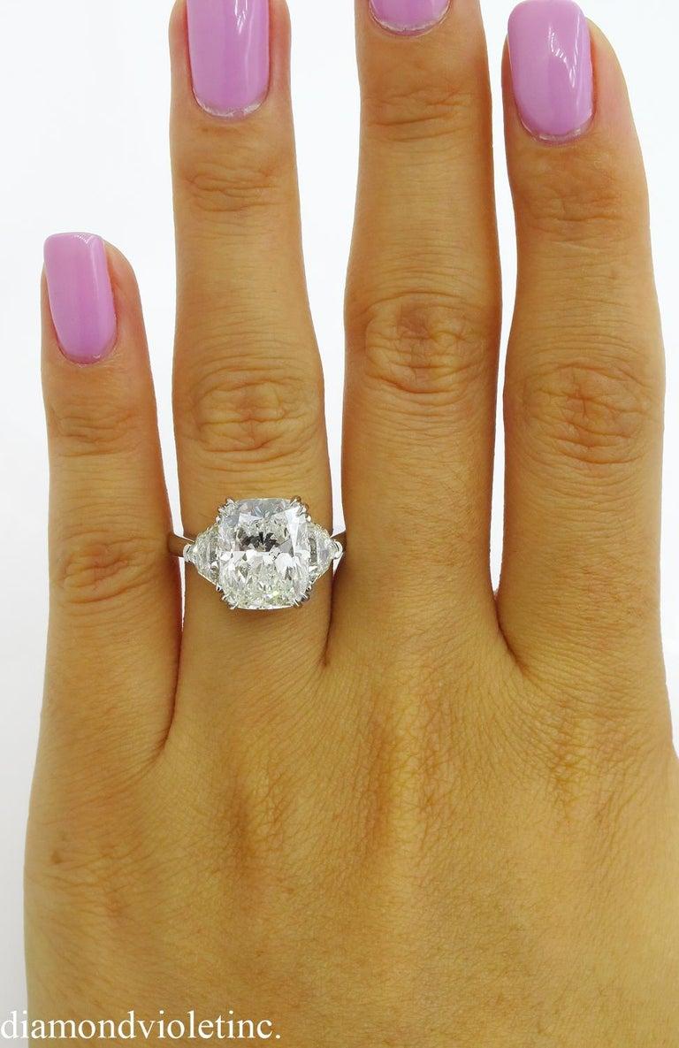 GIA 6.01 Carat Cushion Diamond Three-Stone Engagement Platinum Ring For Sale 7