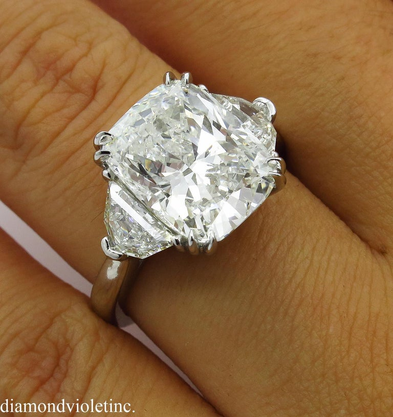 GIA 6.01 Carat Cushion Diamond Three-Stone Engagement Platinum Ring For Sale 8