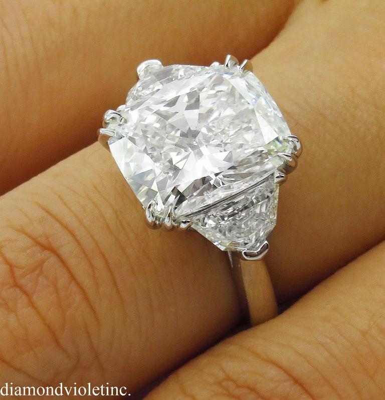 GIA 6.01 Carat Cushion Diamond Three-Stone Engagement Platinum Ring For Sale 9