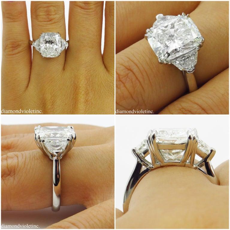 GIA 6.01 Carat Cushion Diamond Three-Stone Engagement Platinum Ring For Sale 10