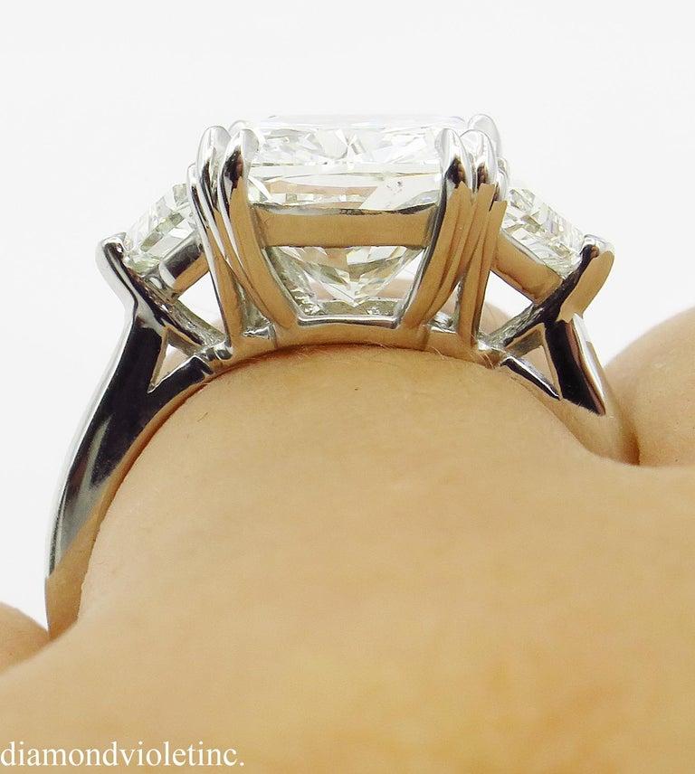 GIA 6.01 Carat Cushion Diamond Three-Stone Engagement Platinum Ring For Sale 11