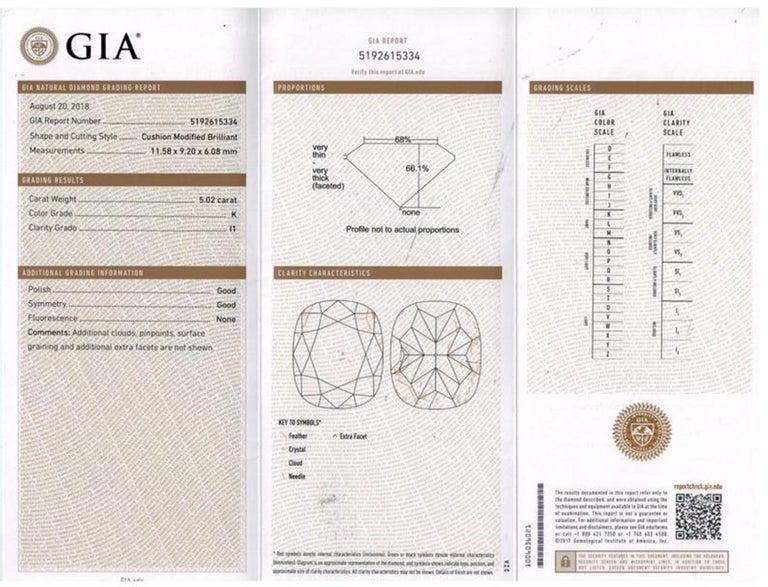 GIA 6.01 Carat Cushion Diamond Three-Stone Engagement Platinum Ring For Sale 13