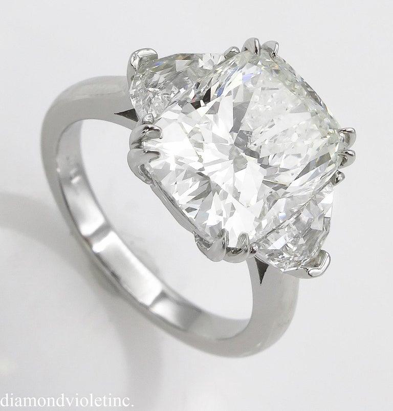 Cushion Cut GIA 6.01 Carat Cushion Diamond Three-Stone Engagement Platinum Ring For Sale