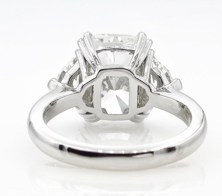 GIA 6.01 Carat Cushion Diamond Three-Stone Engagement Platinum Ring For Sale 1
