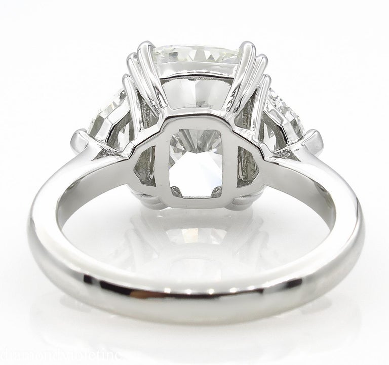 GIA 6.01 Carat Cushion Diamond Three-Stone Engagement Platinum Ring For Sale 2