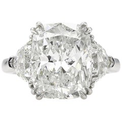 GIA 6.01 Carat Cushion Diamond Three-Stone Engagement Platinum Ring