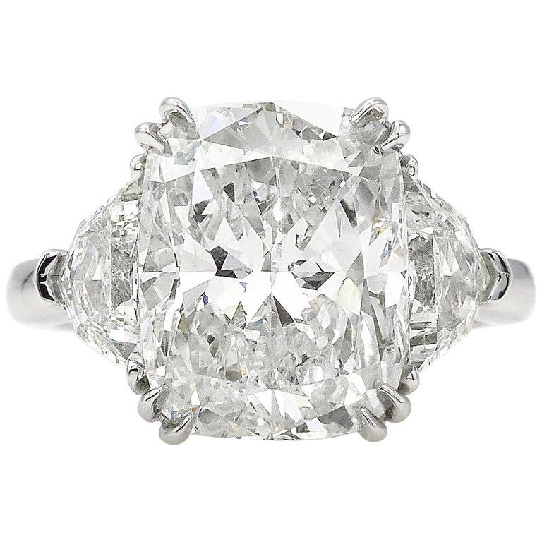 GIA 6.01 Carat Cushion Diamond Three-Stone Engagement Platinum Ring For Sale