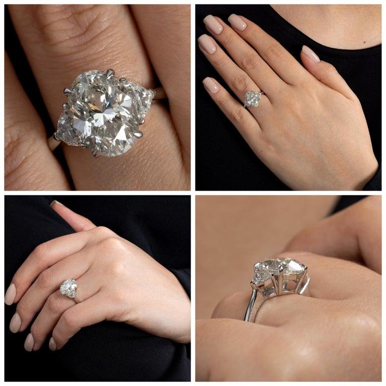 GIA 6.01ct Estate Vintage Oval Diamond 3 Stone Engagement Wedding Platinum Ring For Sale 5