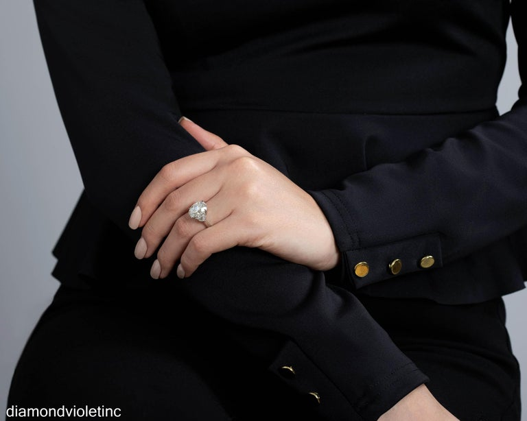 GIA 6.01ct Estate Vintage Oval Diamond 3 Stone Engagement Wedding Platinum Ring For Sale 6