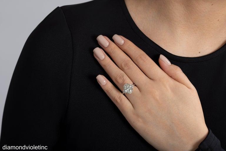 GIA 6.01ct Estate Vintage Oval Diamond 3 Stone Engagement Wedding Platinum Ring For Sale 8