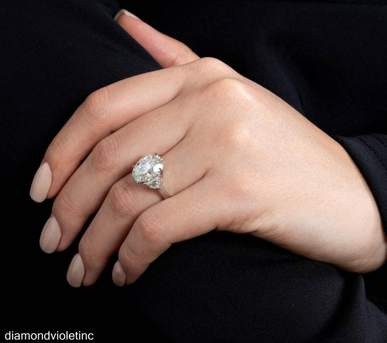 GIA 6.01ct Estate Vintage Oval Diamond 3 Stone Engagement Wedding Platinum Ring For Sale 9