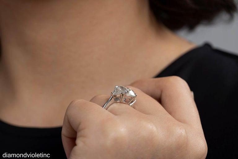 GIA 6.01ct Estate Vintage Oval Diamond 3 Stone Engagement Wedding Platinum Ring For Sale 10