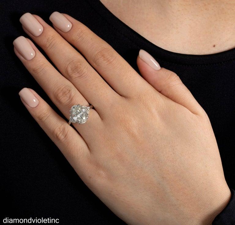 GIA 6.01ct Estate Vintage Oval Diamond 3 Stone Engagement Wedding Platinum Ring For Sale 11