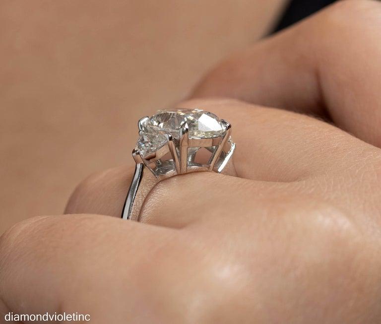 GIA 6.01ct Estate Vintage Oval Diamond 3 Stone Engagement Wedding Platinum Ring For Sale 12