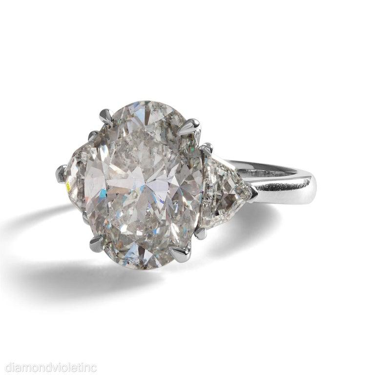 Women's GIA 6.01ct Estate Vintage Oval Diamond 3 Stone Engagement Wedding Platinum Ring For Sale
