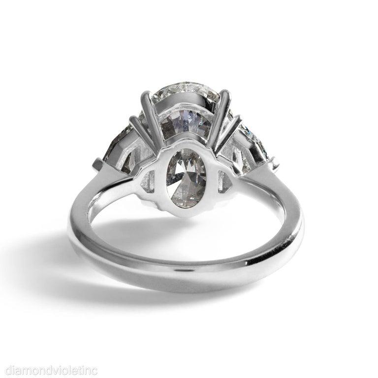 GIA 6.01ct Estate Vintage Oval Diamond 3 Stone Engagement Wedding Platinum Ring For Sale 2