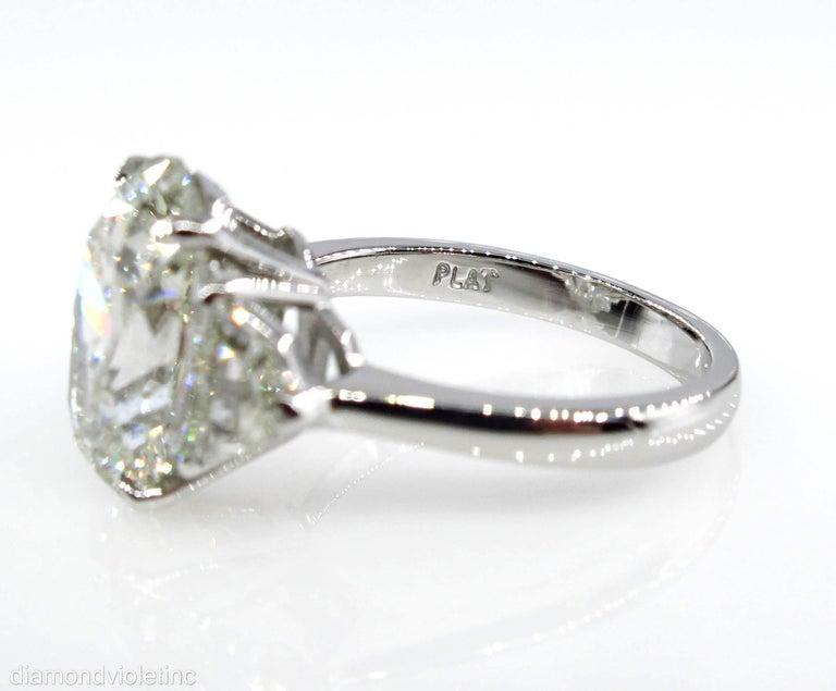 GIA 6.01ct Estate Vintage Oval Diamond 3 Stone Engagement Wedding Platinum Ring For Sale 3