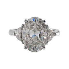 GIA 6.01ct Estate Vintage Oval Diamond 3 Stone Engagement Wedding Platinum Ring