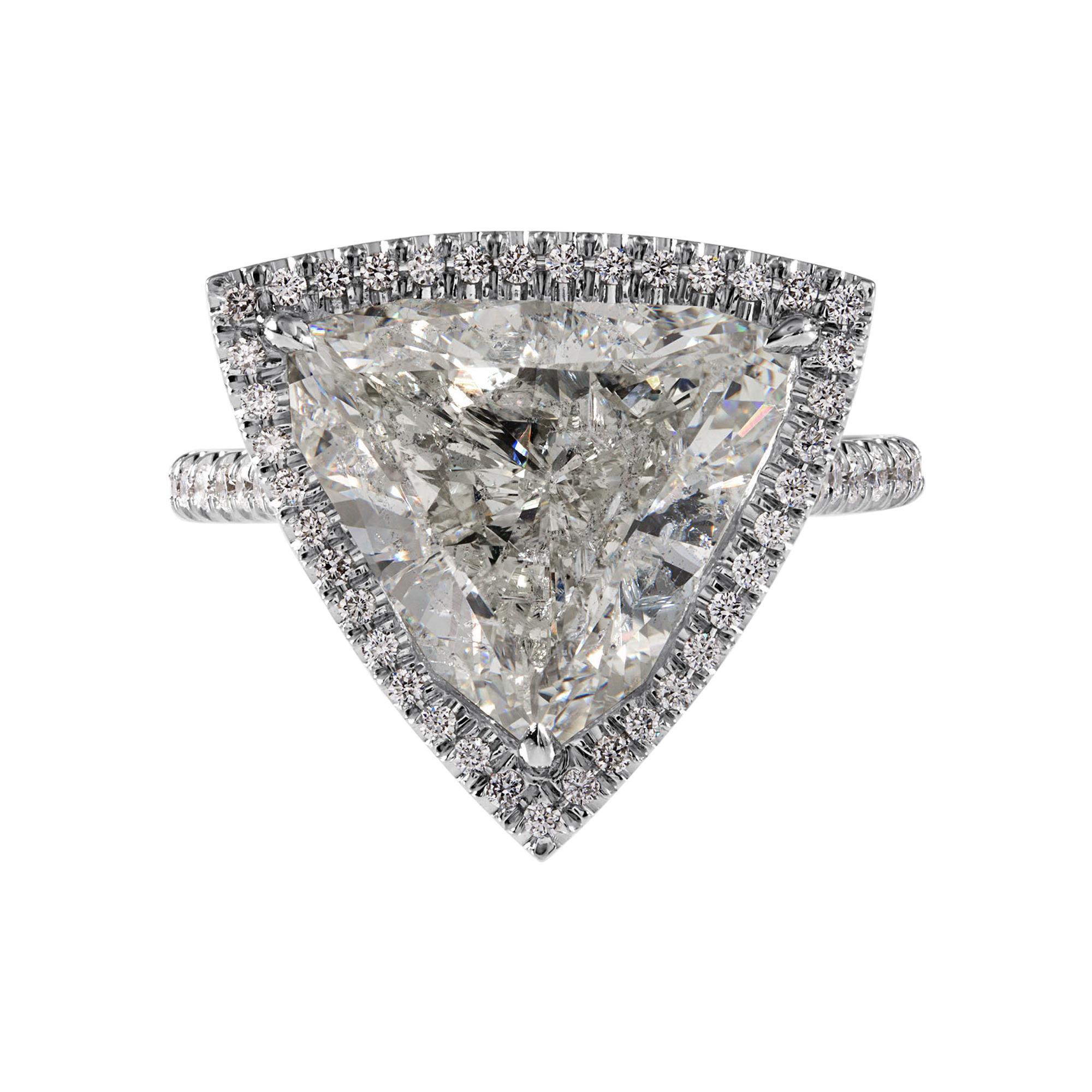GIA 6.01ct Estate Vintage Trillion Diamond Halo Engagement Weeding Platinum Ring