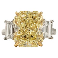 GIA 6.02 Carat Fancy Yellow Radiant Cut Diamond Engagement Ring in Platinum