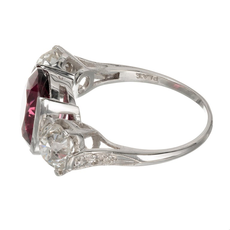Women's GIA 6.02 Carat Natural Spinel Diamond Platinum Three-Stone Engagement Ring For Sale