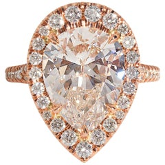 GIA 6.04 Carat Pear Shaped Diamond Engagement Wedding Pave Halo Rose Gold Ring