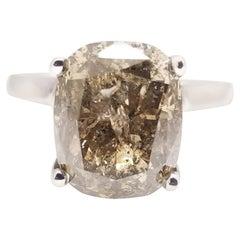 GIA 6.13 Carat Natural Fancy Dark Brown Cushion Cut Diamond Ring