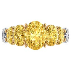 GIA 6.18 Carat Oval Yellow Intense Diamonds 18 Karat Shank Platinum 950 Ring