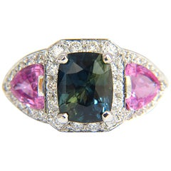 GIA 6.19 Carat Natural No Heat Green Blue Sapphire Diamonds Ring Unheated
