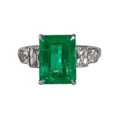 GIA 6.54ct Colombian Green Emerald Diamond Anniversary Engagement Platinum Ring