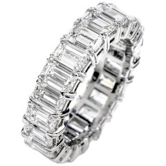 GIA 6.57 Carat D-VVS1 Emerald Cut Diamond Platinum Eternity Band Ring