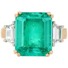 GIA 6.72 Carat Emerald Cut Columbian Emerald with Trapezoid Diamonds in 18 Karat
