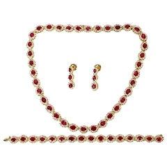 GIA 67.20 Carat No Heat Ruby Diamond Necklace Bracelet Earrings Unheated