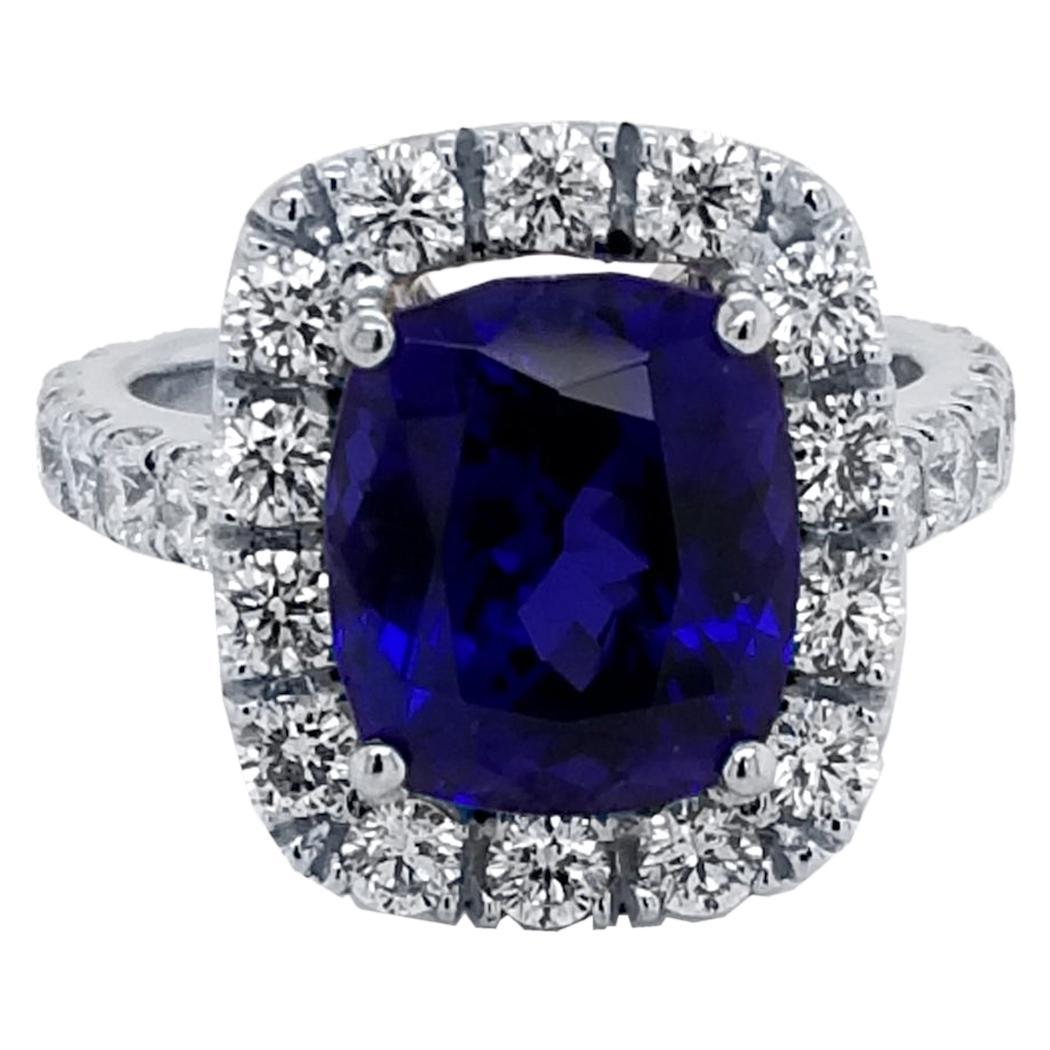 GIA 6.81 Carat Cushion Tanzanite Pave Set Engagement Ring with Halo