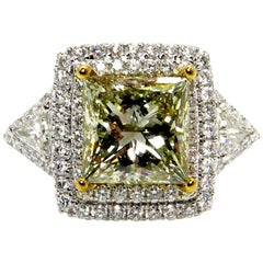 GIA 6.81 Carat Fancy Green Yellow Princess Cut Diamond Engagement Wedding Ring