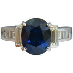 GIA 6.83 Carat Natural Gem Royal Blue Sapphire Diamond Ring 14 Karat VS