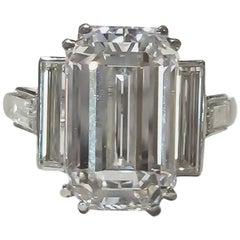 GIA 6.87 Type Iia Emerald Cut Diamond Cartier Platinum Ring