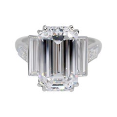 GIA 6.87 Type IIa Emerald Cut Diamond Cartier Platinum Ring