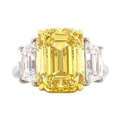 GIA 7. 01 Carat Vivid Fancy Yellow Diamond Engagement Ring