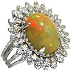 GIA 7.17ct natural cabochon opal diamonds sunburst cocktail ring 14kt a+ colors